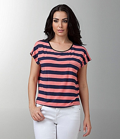 Kensie Stripe Pocket Top