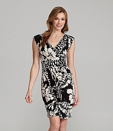 Jones New York Floral-Print Cap-Sleeve Dress