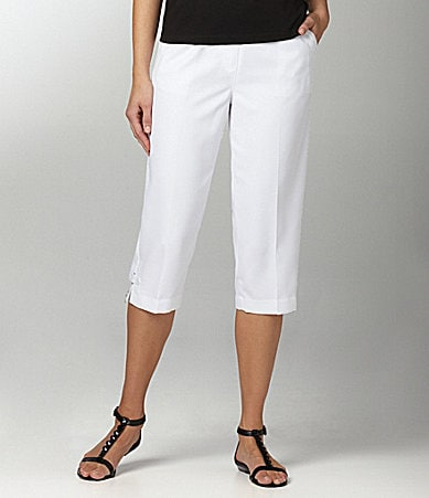 Allison Daley Petites Mock-Fly Pull-On Capri Pants