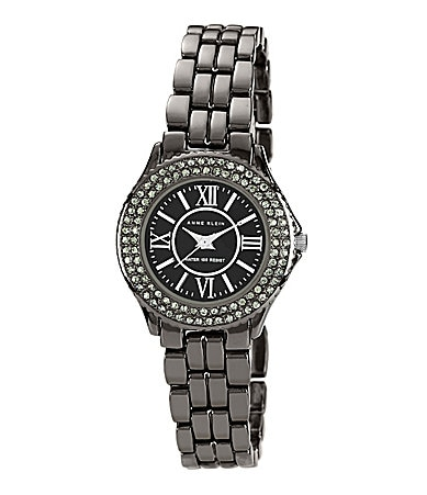 AK Anne Klein Gunmetal Glitz Mother of Pearl Watch