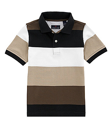 Class Club 2T-7 Wide Stripe Pique Polo Shirt