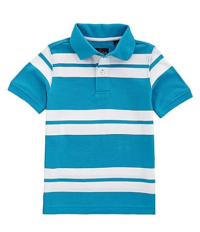 Class Club 2T-7 Double Bar Stripe Pique Polo Shirt