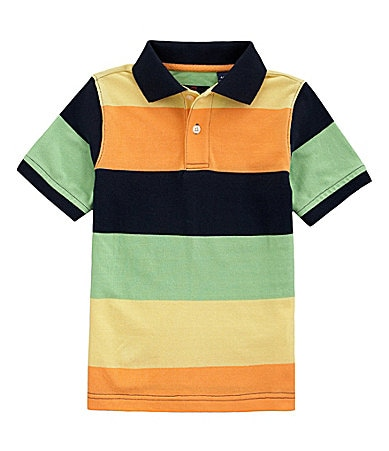 Class Club 8-20 Wide Stripe Pique Polo Shirt