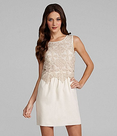 Kensie Sleeveless Lace-Overlay Dress