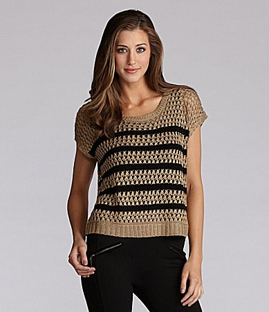 Kensie Stripe Open Knit Sweater