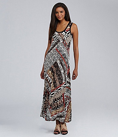 Calvin Klein Mixed Animal Print Maxi Dress