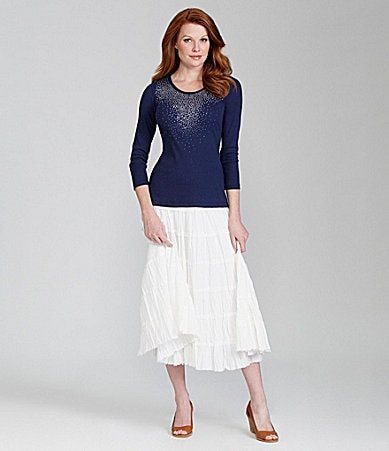 Reba Sunburst Ribbed Knit Top &  Montana Tiered Skirt