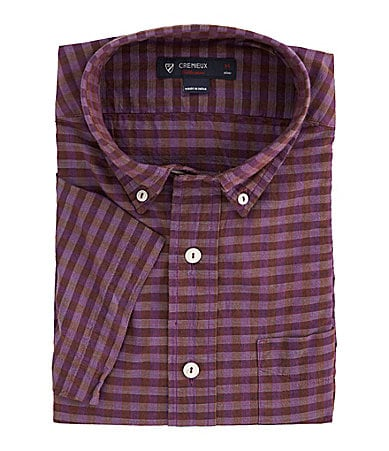 Cremieux Cotton Check Pattern Slub Shirt