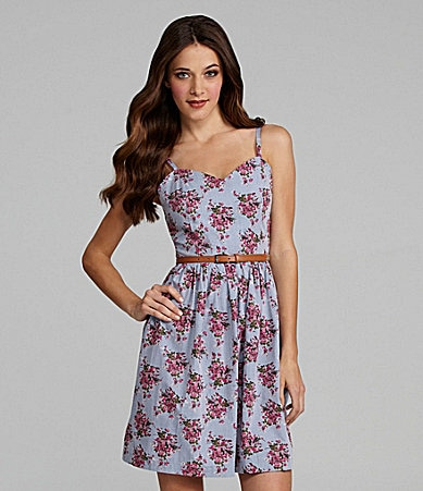 Kensie Floral Bouquet Chambray Sundress