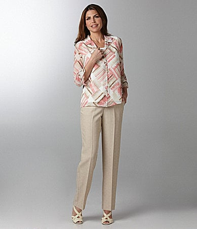 Samantha Grey Box Print 2-Fer Blouse & Flat Front  Pants