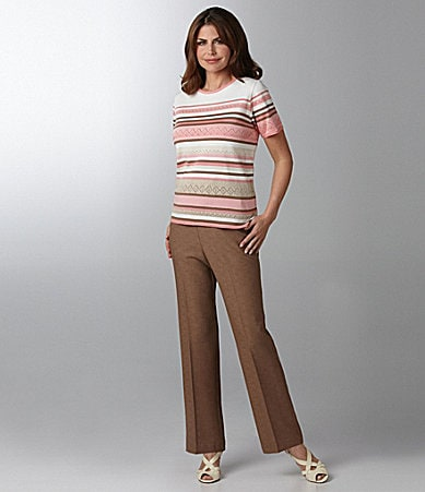 Samantha Grey Striped Sweater Top & Flat Front Pants