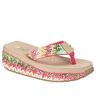 Volatile Girls Glide Multi Raffia Thong Sandals