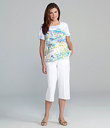 Samantha Grey Scenic Printed Squareneck Knit Top & Embroidered Cargo Pocket Capri Pants