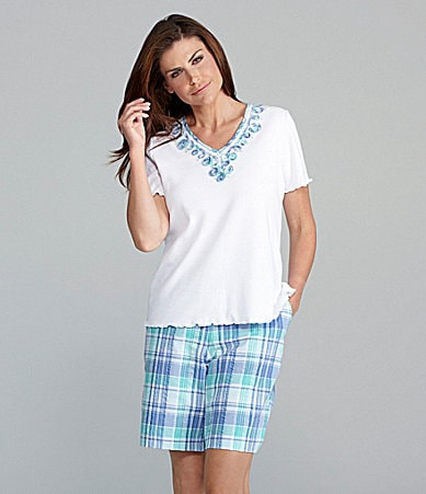 Samantha Grey Plaid Soutache Knit Top & Plaid Seersucker Shorts