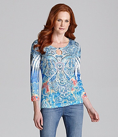 Reba Peacock Keyhole Sublimation Top
