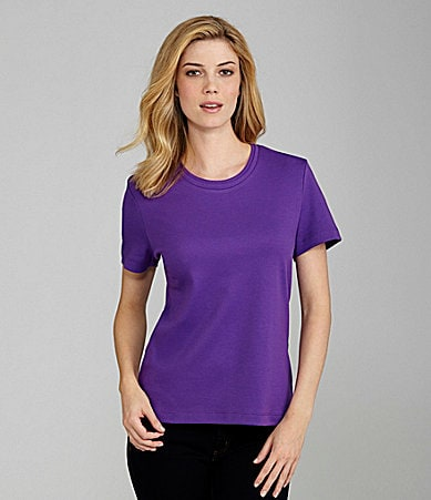 Westbound Petites Double-Collar Knit Scoopneck Top