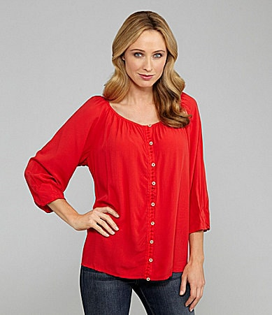 Westbound Button-Front Peasant Top