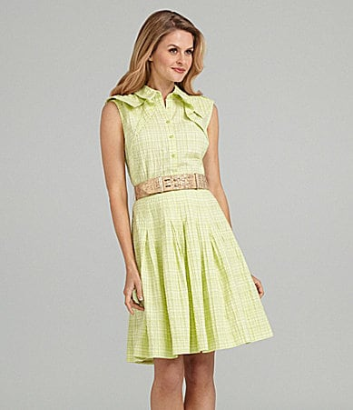 Antonio Melani Belted Plaid Dress
