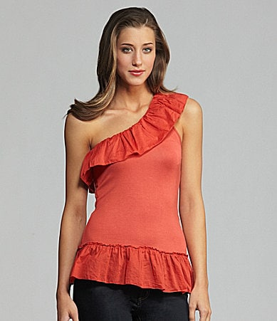 Buffalo David Bitton One-Shoulder Ruffle Top