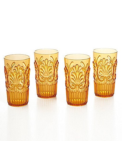 Summer Oasis Acrylic Fleur-De-Lis Highball Drinkware, Set of 4