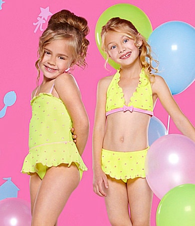 Hula Star 4-6X Lemon Squeeze 1-Piece Swimsuit & 2-Piece Skirted Swimsuit