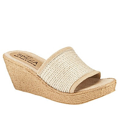 Sbicca Platinum Slide-On Platform Wedge Sandals