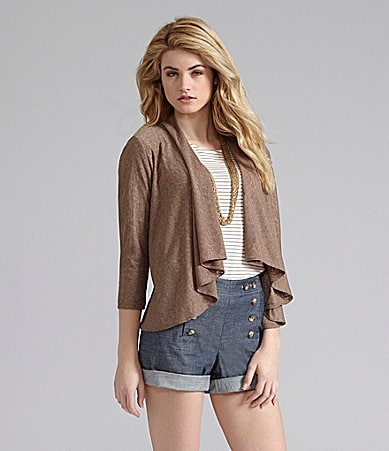 Cremieux Imani Open Cardigan, Striped Knit Top & Alexis Denim Shorts