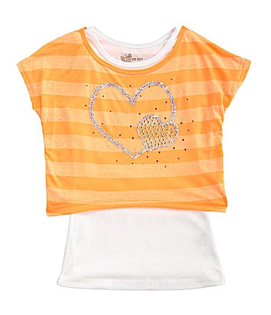 Copper Key 7-16 Neon Heart Popover Top