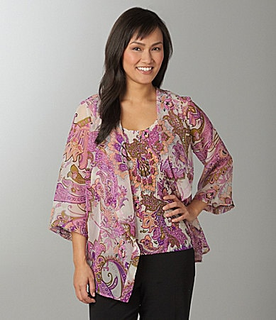 Investments Petites Paisley Printed Two-Fer Top