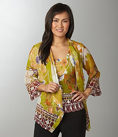 Investments Petites Floral Border Print Two-Fer Top