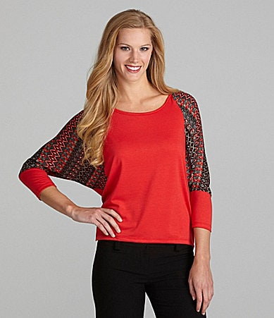 Westbound Petites Mix Media Dolman Sleeve Top