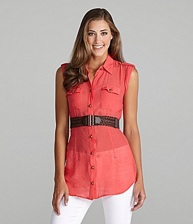 I.N. San Francisco Belted Button-Front Tunic