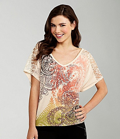 Copper Key Lace Inset Printed Top