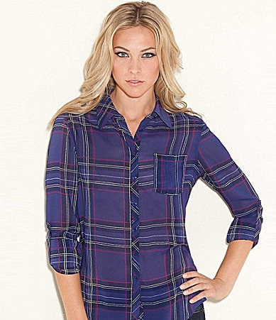 Guess Long-Sleeve Plaid Ferris Top