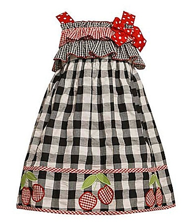 Bonnie Jean 4-6X Cherry-Appliqued Checked Print Dress