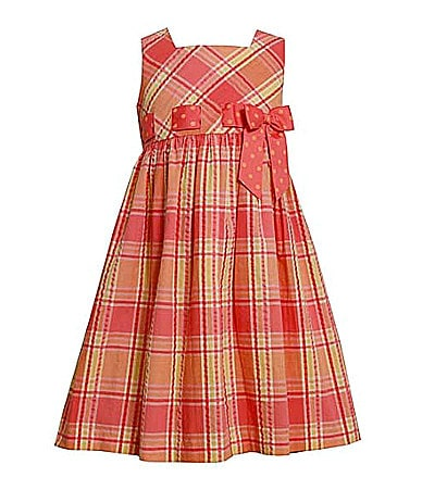 Bonnie Jean 4-6X Plaid Printed Seersucker Dress