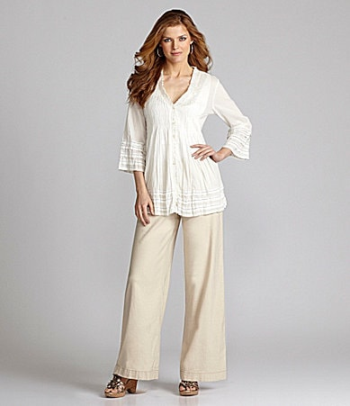 Nurture Cotton Pintucked Blouse & Washable Linen Pants