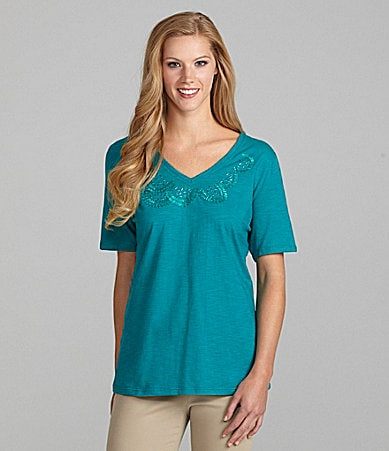TanJay Embellished V-Neck Top