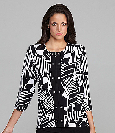 TanJay Printed Zip Front Jacket with Trim & Beads