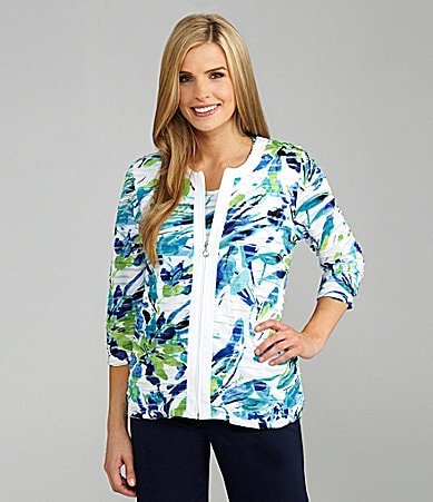 TanJay Petites Abstract-Printed Zip-Front Jacket