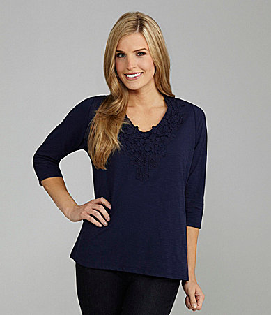 TanJay Lace Applique V-Neck Top