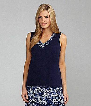 TanJay Woman Print-Trim V-Neck Tank