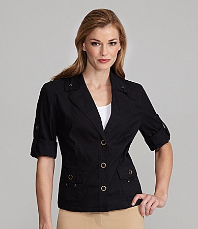 TanJay Petites Notch-Collar Jacket