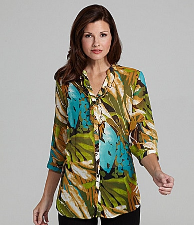 TanJay Leaves-Print Roll-Tab Tunic