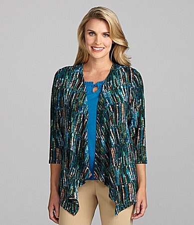 TanJay Brush-Print Draped Cardigan