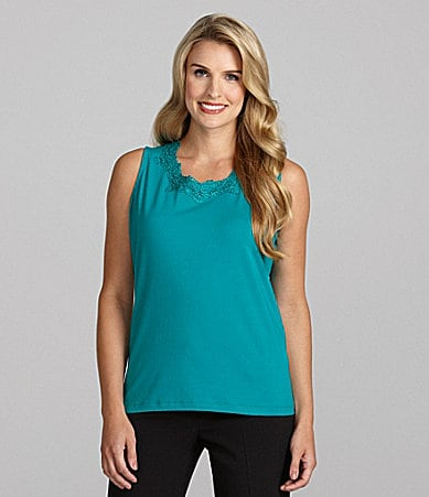 TanJay Woman Lace-Trim Scoopneck Tank