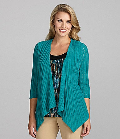 TanJay Woman Draped Open-Front Cardigan