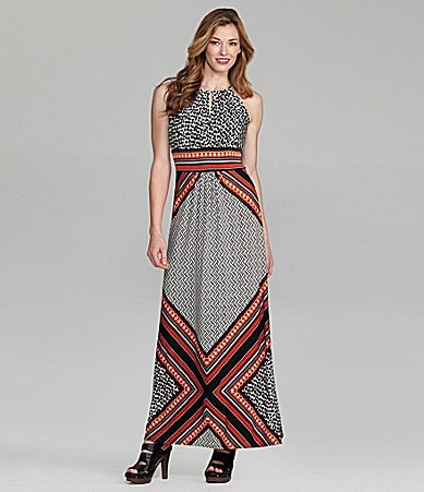 London Times Tribal-Print Maxi Dress