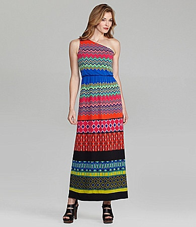 London Times One-Shoulder Maxi Dress