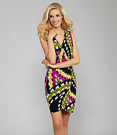 London Times Sleeveless Geometric-Print Dress